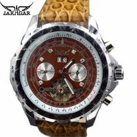 Unique New Design Tourbillon Automatic Mechanical Watches Men Famous Luxury Top Brand Brown Diamond Leather Fashion Male Clock