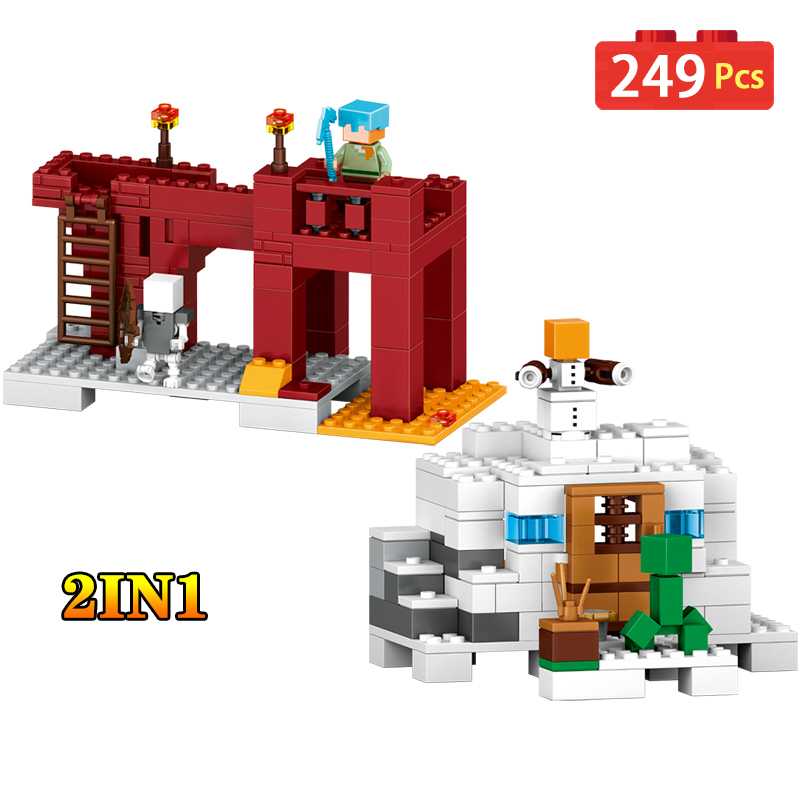 249PCS My World Figures Building Blocks 2 in 1 My World Garden Educational Children Toys Compatible Legoeding Minecraft City lele my world power morse train building blocks kits classic educational children toys compatible legoinglys minecrafter 541 pcs