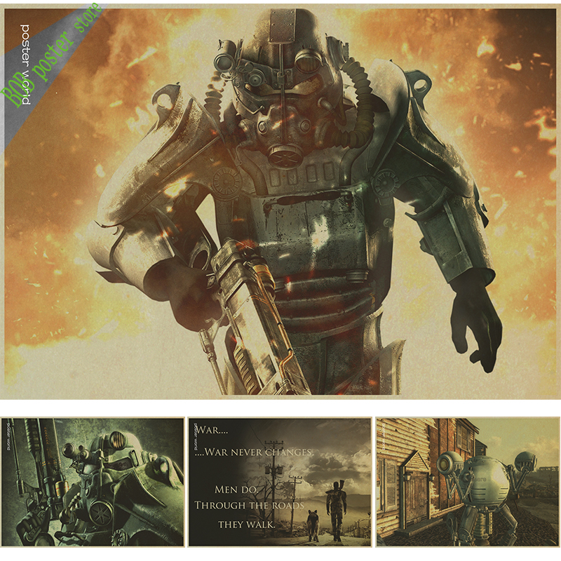 vintage Fallout 3 4 Game Poster kraft Game poster Home
