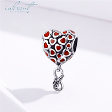 inbeaut Hot Sale 100% 925 Sterling Silver Red Enamel fit Pandora Bracelet Heart Air Balloon Charms Forever Love DIY Bangle Beads