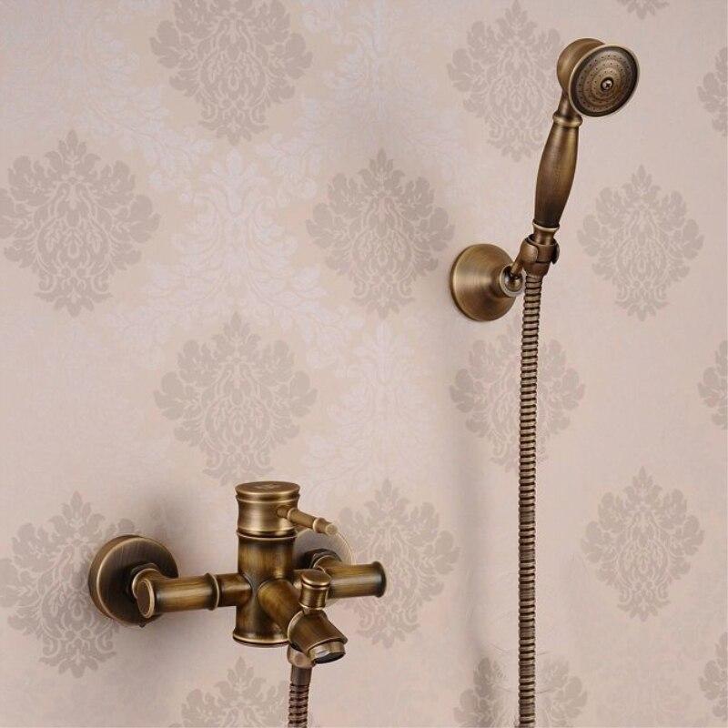 Wall bathroom shower faucet brass set bronze rainfall shower mixer tap antique shower head antique plumbing Water Faucet HJ-6049 newly vintage antique brass shower faucet set rainfall shower head w ceramics hand showe retro wall mount