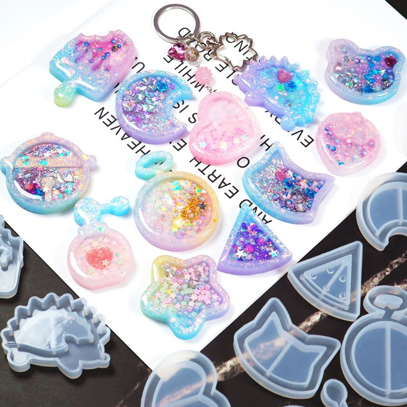 DIY Handmade Crystal Epoxy Silicone Mold UV Jewelry Pendant Resin Molds Making Crafts Tools Quicksand Star Moon Cat Model Mould