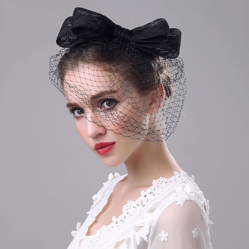 Elegant Women Wedding Hats and Fascinators With Big Bow Bridal Party Gifts Black White Headpiece Headband Lady Face Veils 2018 in Bridal Headwear from Weddings Events