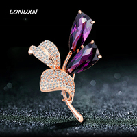 5.5*4cm High quality female jewelry leaves girls purple crystal jewelry brooch pins Tulip flowers shining lovers best gift