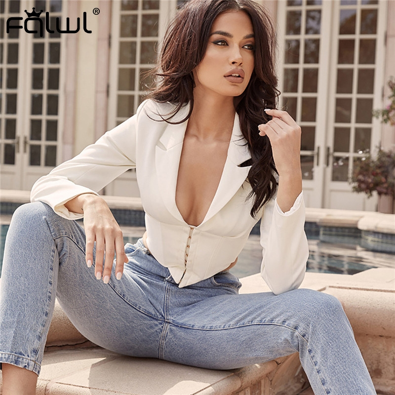 FQLWL Ladies Blazer Long Sleeve Blaser Women Suit Bodycon Jacket Female Outwear Deep V Neck White Sexy Club Blazer Coat