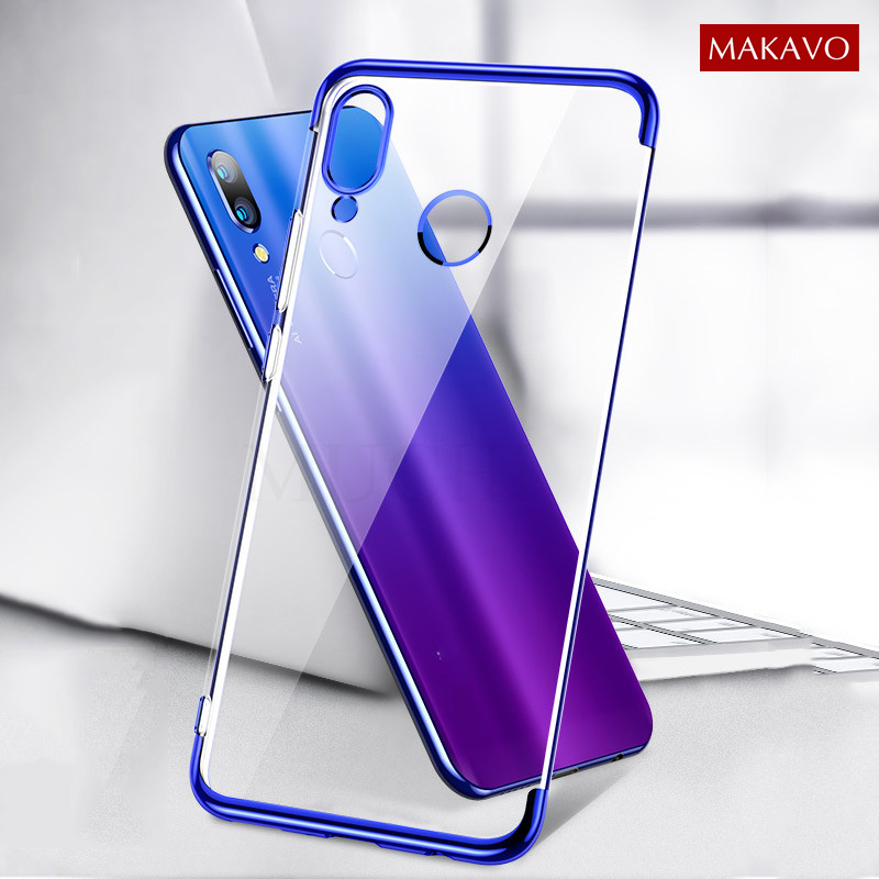 MAKAVO Case For Xiaomi Redmi Note 7S Luxury Plating Soft Clear Transparent Phone Cover For Xiomi Redmi Note 7 Note7 Pro Case Redmi