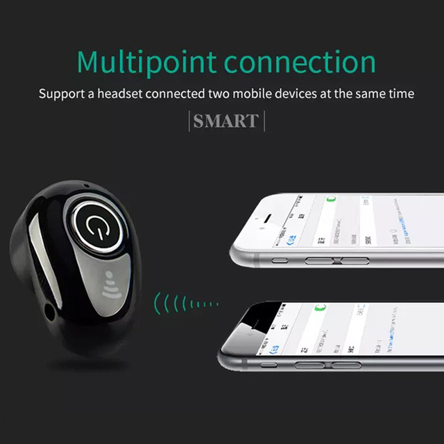 Yodeli S650 Invisible Bluetooth Earphone Mini Wireless Earphones Sport Handsfree Earbuds In-Ear Earpieces with Mic for Phone