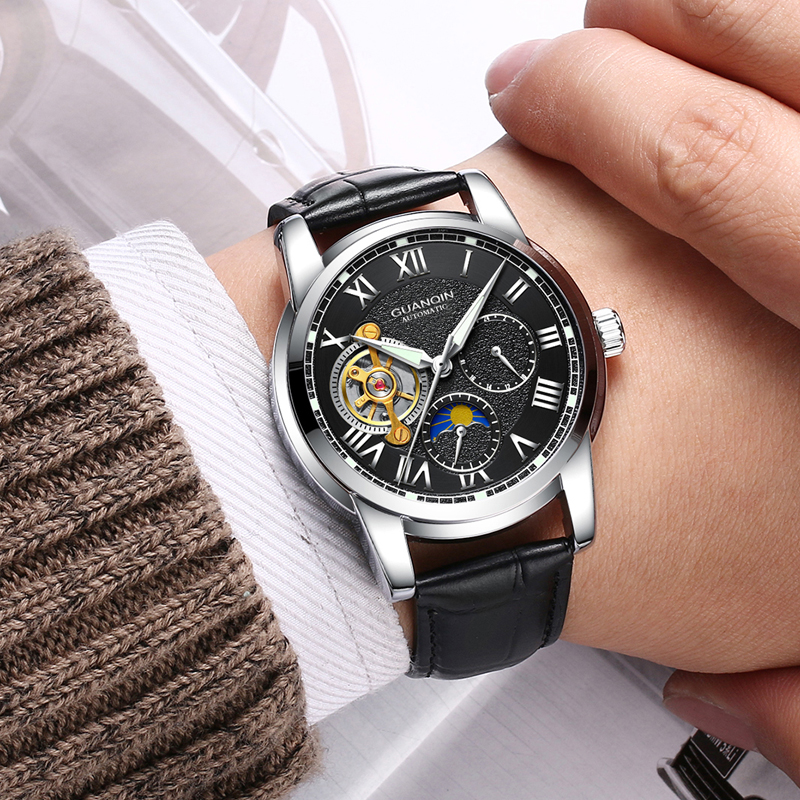 Mens Watches Top Brand Luxury GUANQIN Skeleton Tourbillon Men Sport Casual Leather Automatic Mechanical Watch relogio masculino relogios masculino new guanqin luxury brand tourbillon skeleton male watches men sport leather strap automatic mechanical watch