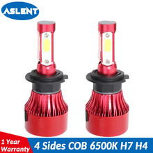 ASLENT 2Pcs H4 LED H7 H11 H13 9004 9005 9006 9007 COB Car Headlight Bulb 100W 12000LM 6500K Auto Headlamp 12V 24V fog light