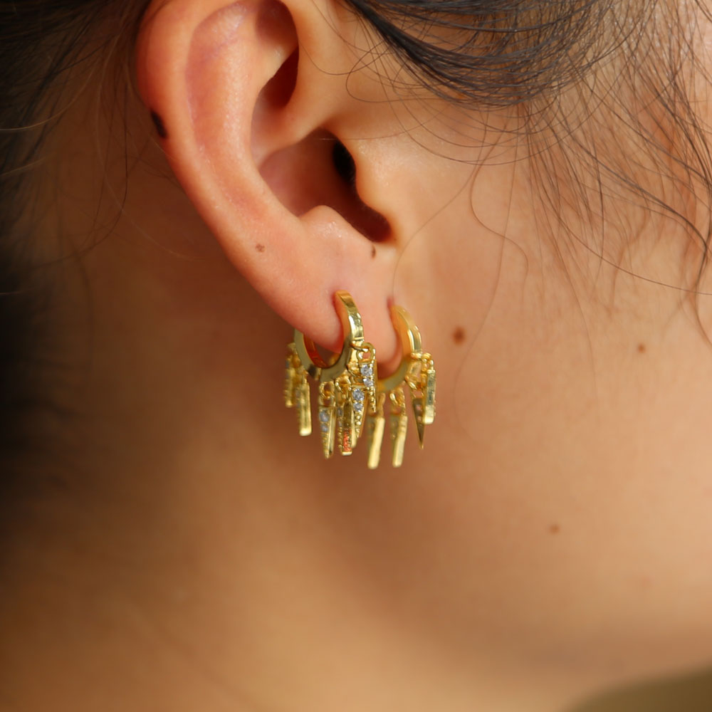 cz spike charm hoop earring gold color fashion women girl gift 2018 new latest design elegant Chic just arround ear mini hoops