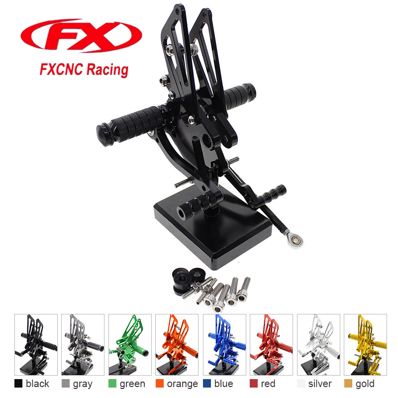 FX CNC Aluminum Adjustable Motorcycle Rearsets Rear Set Foot Pegs Pedal Footrest For KAWASAKI NINJA 250 EXC250 2008 - 2012 2011 free shipping motorcycle parts silver cnc rearsets foot pegs rear set for yamaha yzf r6 2006 2010 2007 2008 motorcycle foot pegs