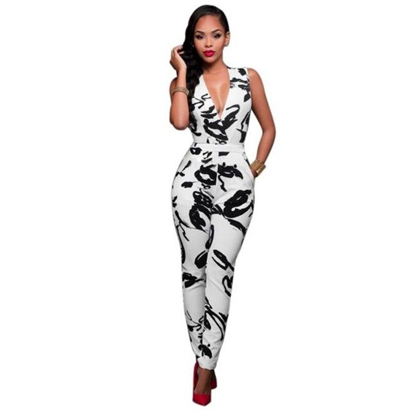 arrival Women Clubwear Summer V Neck Playsuit Floral Print Bodycon Party Jumpsuit Romper Trousers