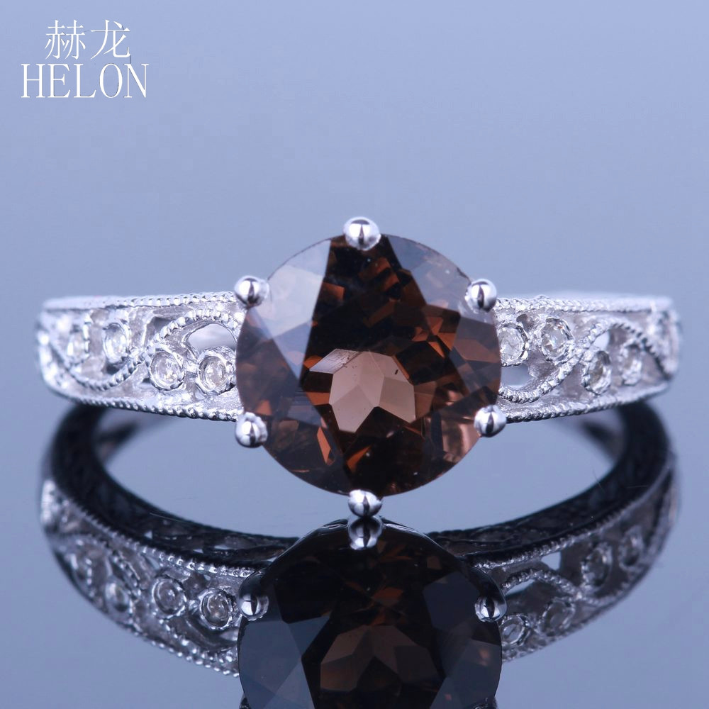 HELON Round 8mm 2.12ct Smokey Quartz Engagement Ring Solid 10k White Gold Retro Antique Fine Diamonds Wedding Ring Jewelry Women цена