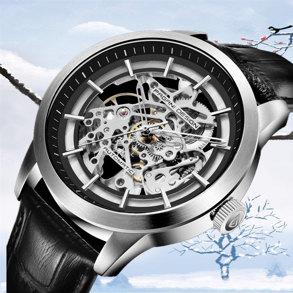 PAGANI DESIGN New Fashion Luxury Brand Leather Watch Automatic Men Mechanical Skeleton Watches Relogio Masculino erkek kol saati
