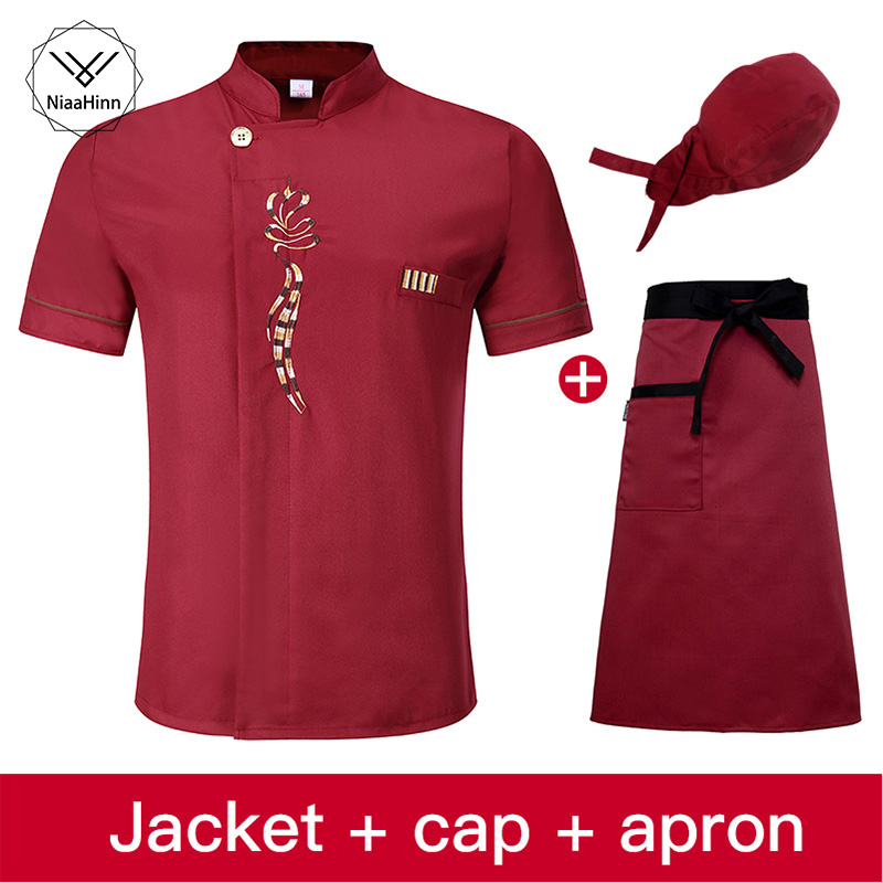 Unisex Bakery Chef Uniform Short Sleeved Restaurant Cook Uniforms Work Wear Hotel Cook Clothes Sushi Costume Chef Hat+apron
