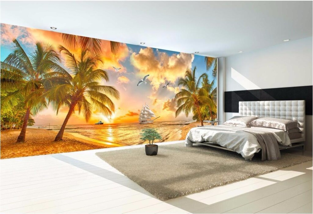 Custom Mural Photo 3d Room Wallpaper Seaside Sunset