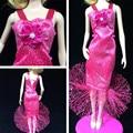 1 pc Moda Artesanal Subiu Roupas Com Flor Vestidos de Saia Fishtail Vestido de Noite Para 11 ''Barbies Boneca