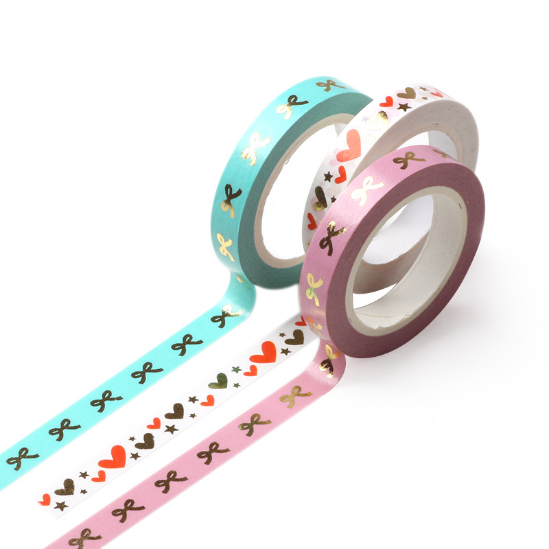8mm Colored Gold Foil Bow-knot Washi Tape Scrapbooking Creative DIY Bullet Journal Decorative Adhesive Masking Tape Supplies