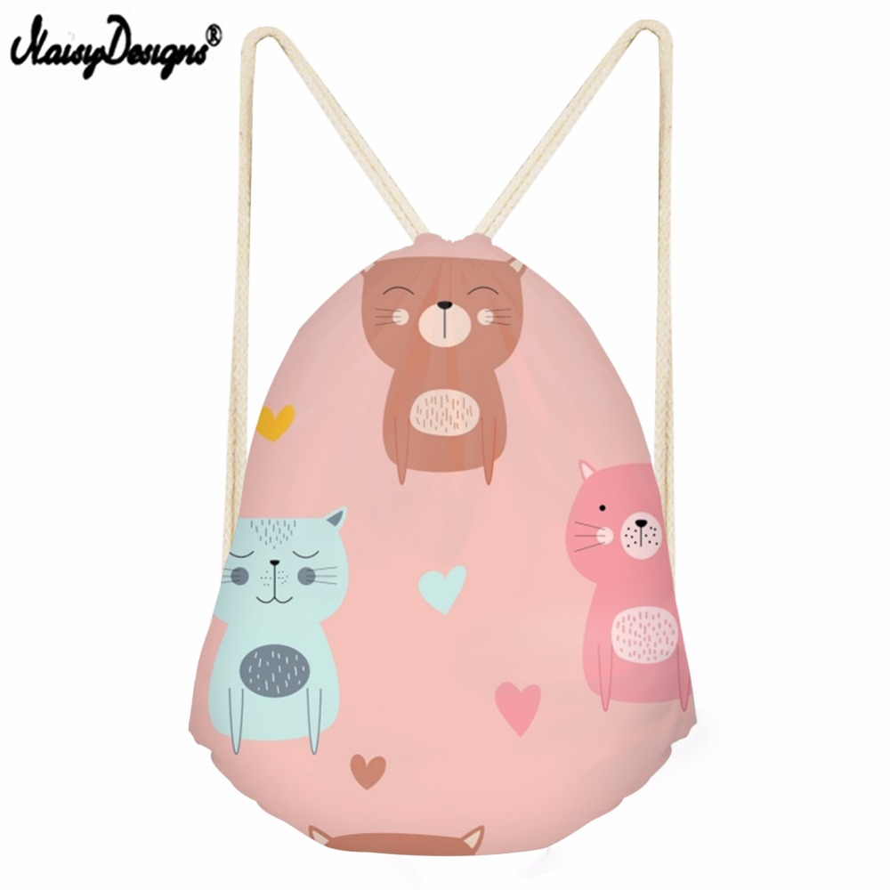 Noisydesigns Casual Drawstring Bag For Teenager Girl Cartoon 3D Cat Printed String Beach Women Travel Storage Package Backpack