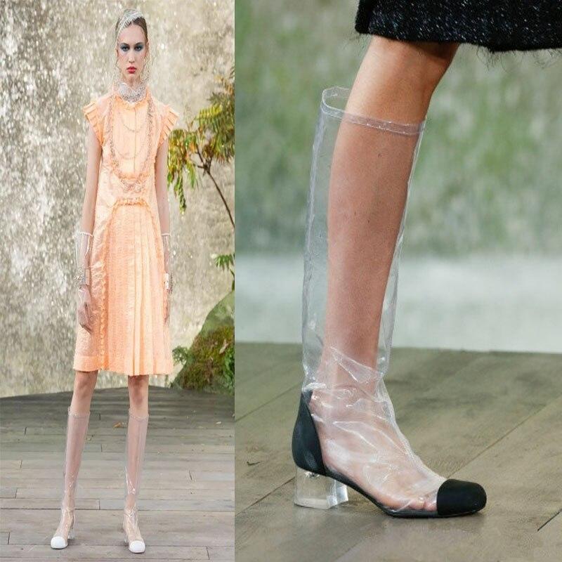 Nueva Zapatos Show Show Verano as La Botas Rodilla Pvc Genuino Impermeable Cuero Tacón As De Sobre Mujer Grueso Marca Calzado Transparentes Largas wHFHPX6q