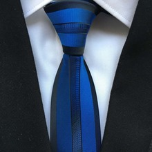 Lingyao NEW Luxury Mens Tie Top Quality Woven Handmade Necktie Royal Blue with Black Border Stripes