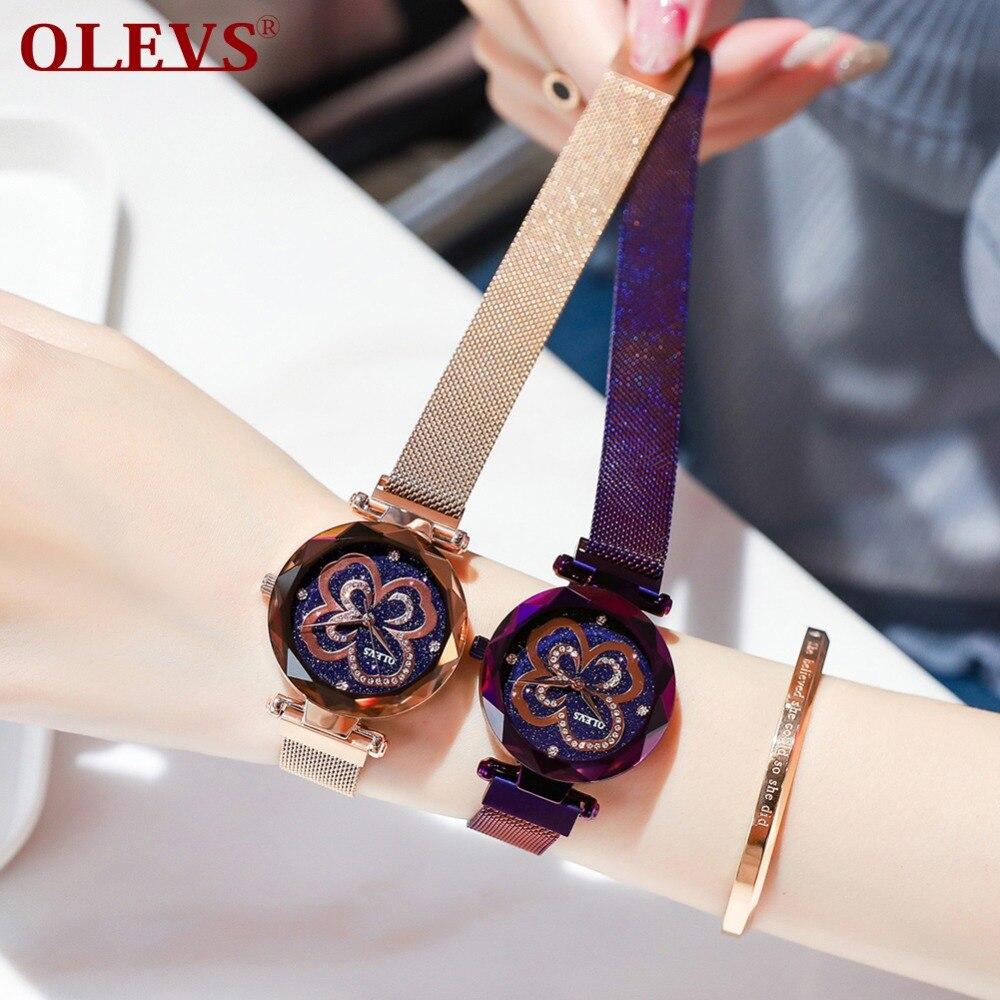 OLEVS Dropshiping De Luxe Or Rose Femmes Montres Starry Sky Strass Horloge Lady robe Milanese Magnétique Bracelet bayan kol saati