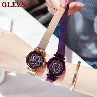 OLEVS Dropshiping Luxury Rose Gold Women Watches Starry Sky Rhinestone Clock Lady dress Milanese Magnetic Strap bayan kol saati