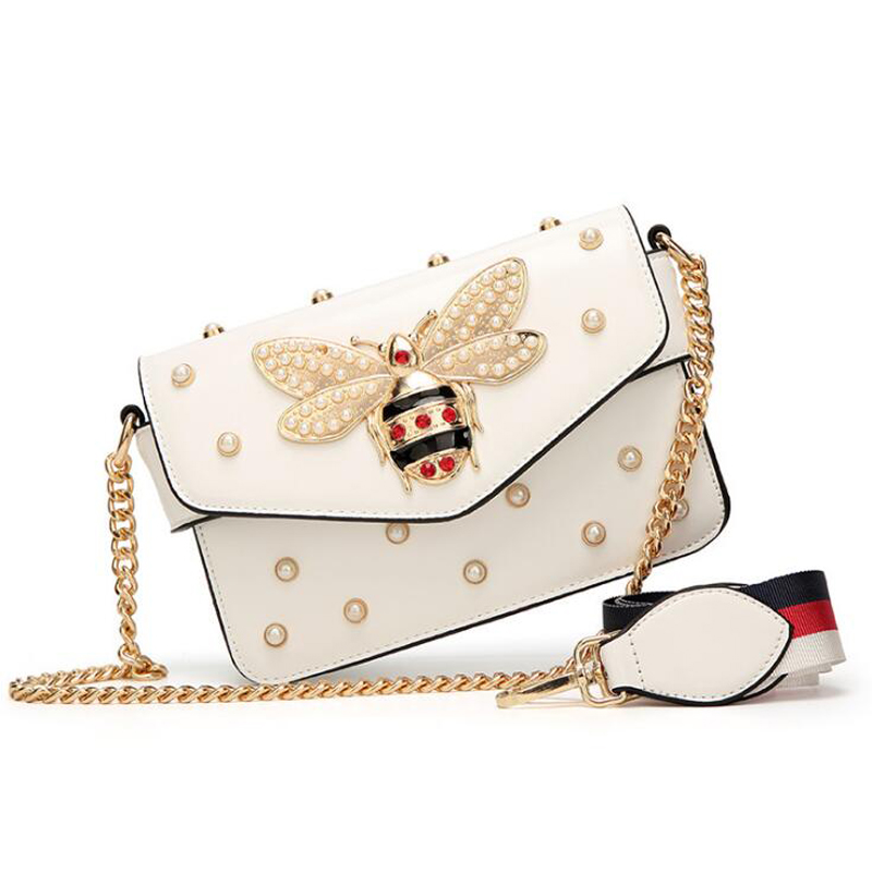 New famous brand women messenger bags black small chain crossbody bags female luxury shoulder bag pearl handbag 2019 Red White(China)