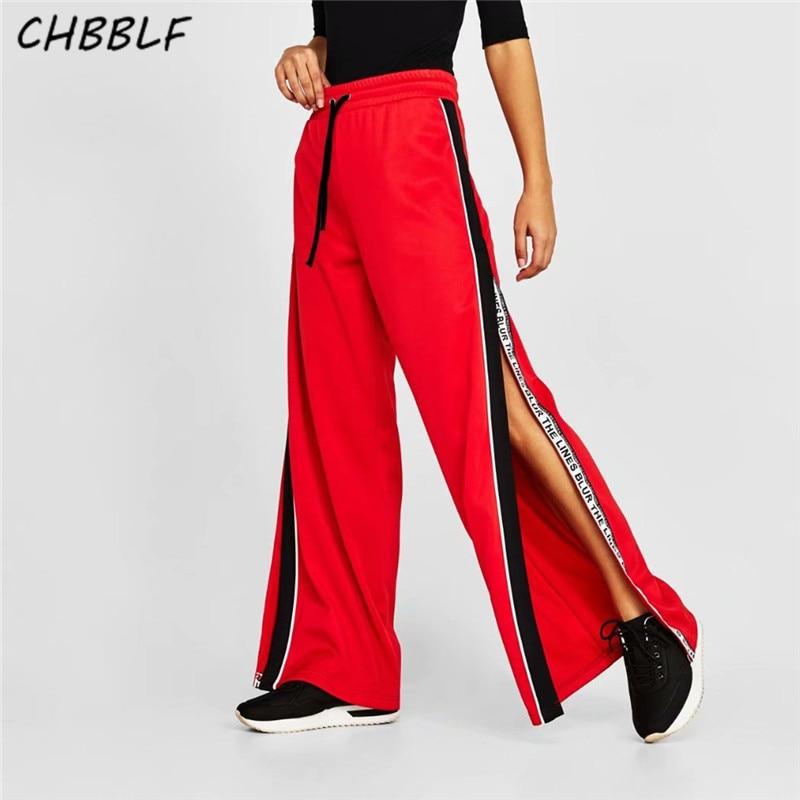 CHBBLF women red side split   wide     legs     pants   elastic waist ladies casual fashion chic trousers mujer O8852
