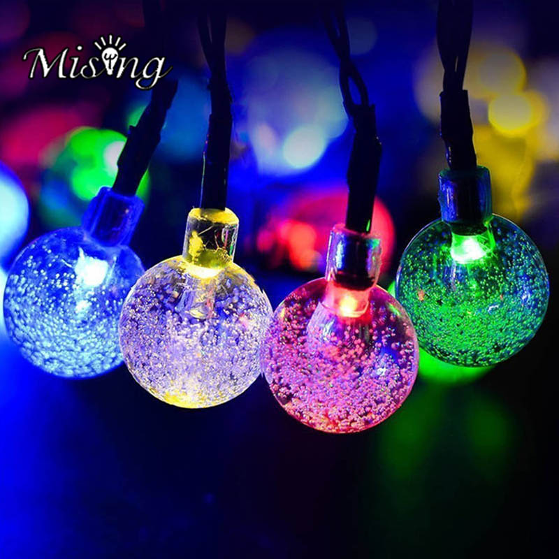 Mising 30 LED 6M Solar Powered Bubble Ball Waterproof String Light Outdoor Party Decoration Lamp for Christmas LED Fairy Light