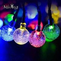 Versprechende 30 LED 6 Mt Solarbetriebene Blase Ball Wasserdicht String Licht Outdoor Party Dekoration Lampe für Weihnachten FÜHRTE Fee licht