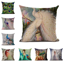 Dream Series Jeanette or Linen Cushion Cover Peacock Beauty Print Pattern Pillowcase Home Bedroom Decoration