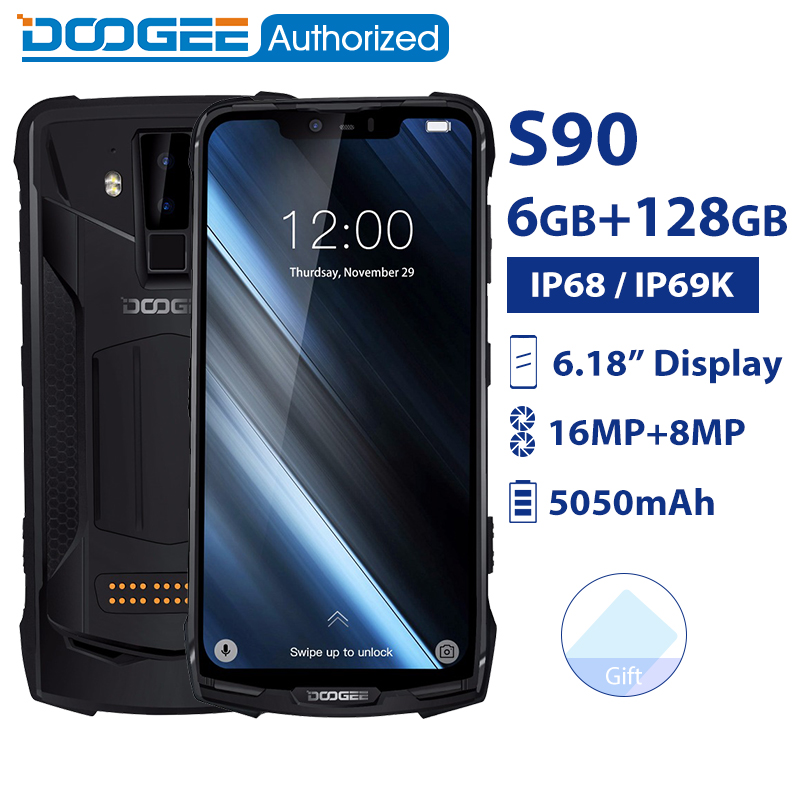 Téléphone portable étanche DOOGEE S90 IP68/IP69K Android 8.1 6.18 ''5050 mAh Helio P60 Octa Core 6 GB 128 GB 16.0 M Smartphone robuste
