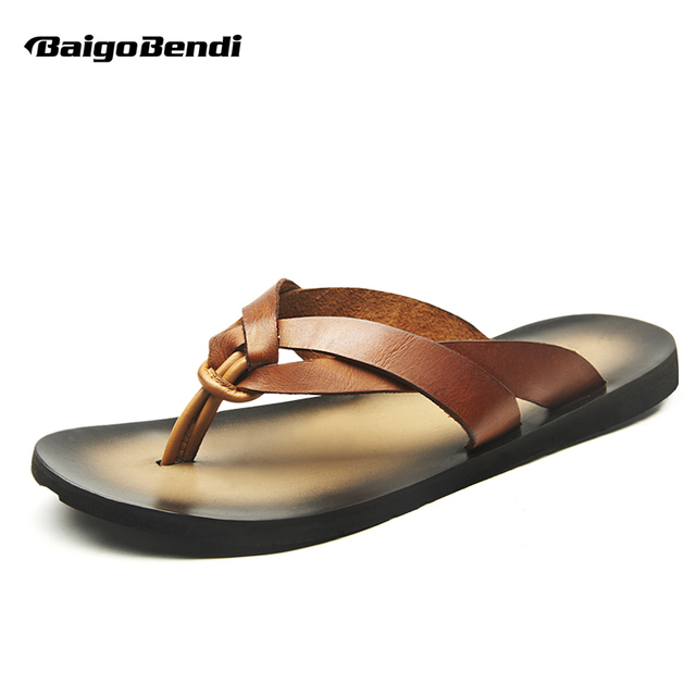 d1744186f9c75b New Men REAL Leather Casual T-Strap Tongs Sandals Flip-Flops Slipper Shoes Summer  Beach Slides