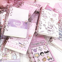 Корейская девушка сердце свинья записная книжка для девочек ПВХ прозрачный 6-отверстие свободный лист дневник внутри страницы A6 спиральная...