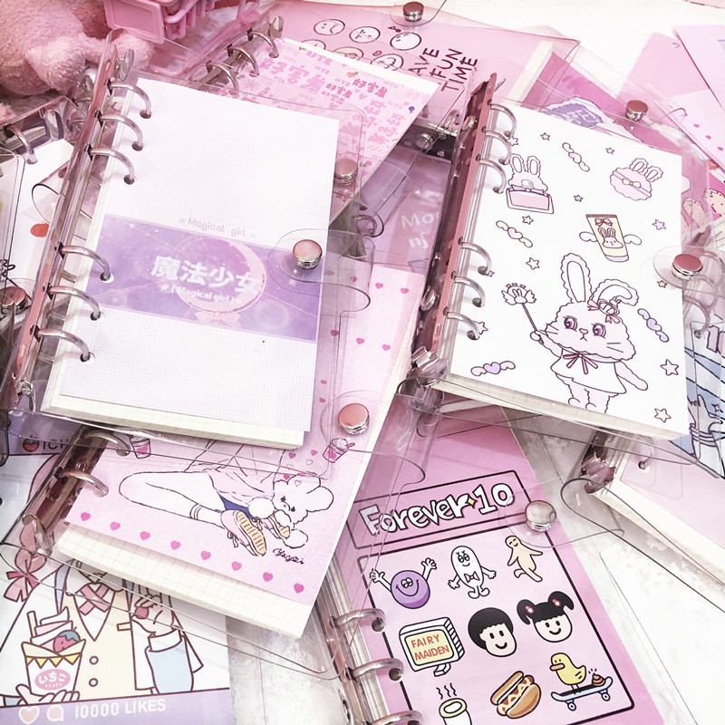 Korean Girl Heart Pig Girl Notebook PVC Transparent 6-hole Loose-leaf Diary Inside Page A6 Spiral Notebook Supply Office