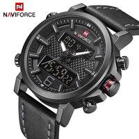 NAVIFORCE Casual Male Sports Watches Men LCD Quartz Digital Clock Top Brand Male Fashion Leather Waterproof Military Wrist Watch