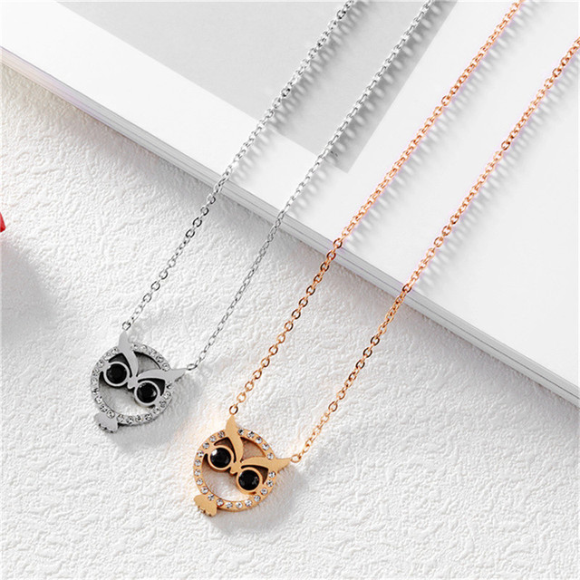 Simple tiny necklace rhinestone owl pendant necklace women trendy simple tiny necklace rhinestone owl pendant necklace women trendy minimalist jewelry for women steel rose gold aloadofball Gallery
