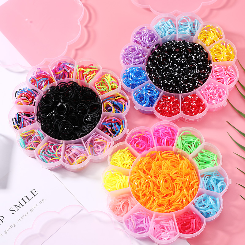 800PCS Girls Colorful Disposable Small Ring Rubber Bands Ponytail Holder Elastic Hair Bands Hair Accessories Flower Box Packed