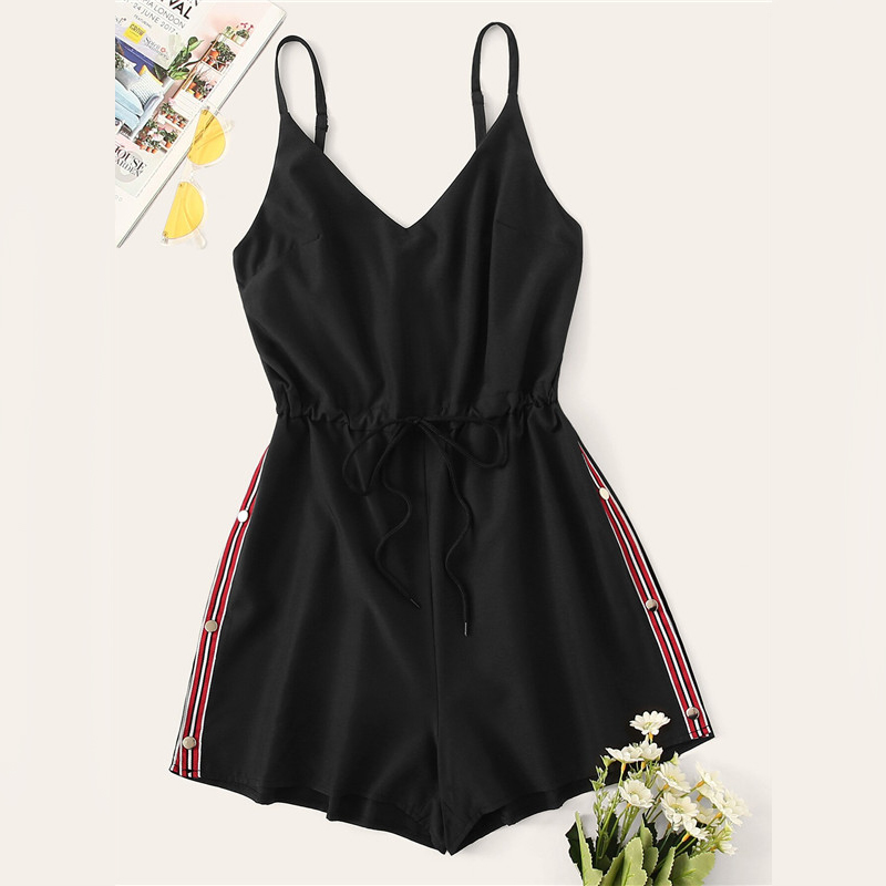 Contrast Taped Side Drawstring Mid Waist Cami Black Casual Romper 1