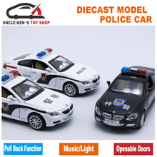 15CM Metal Car, 1/32 Scale Diecast Model Police Toys Car, Replica Toy, Boys Present With Gift Box/Music/Light/Pull Back Function