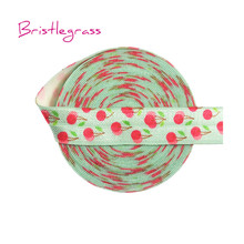 BRISTLEGRASS 5 Yard 5/8 15mm Cherry Print Shiny Fold Over Elastics FOE Spandex Satin Bands Headband Tutu Dress Lace Trim Sewing