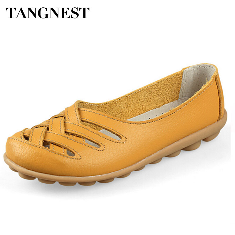 Tangnest Woman Flats  Fashion Nest Hole Female Shoes PU Flat Sandals For Women Summer Driving Shoes Woman Size 35~40 XWZ132 lcx 2017 summer pvc hollow out sandals glitter flat stock the bird nest hole wholesale or retail