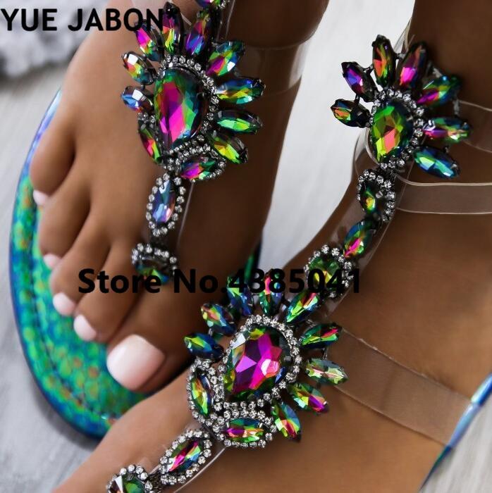 HTB19hyNAeSSBuNjy0Flq6zBpVXa7 2019 shoes woman sandals women Rhinestones Chains Flat Sandals Thong Crystal Flip Flops sandals gladiator sandals 43 free ship