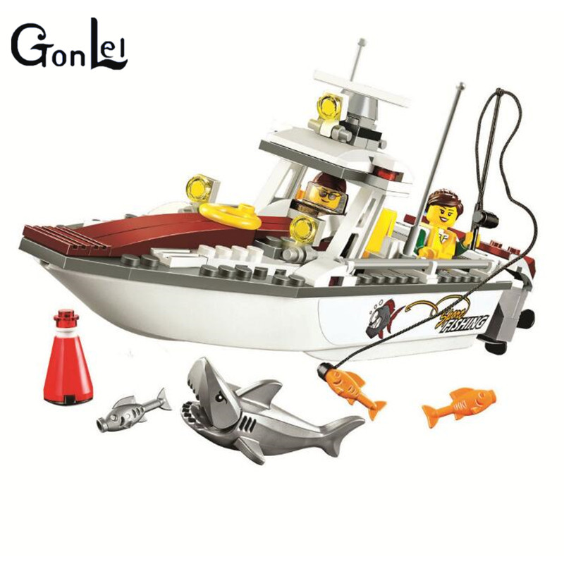 (GonLeI) 10646 160Pcs City Figures Fishing Boat Model Building Kits Blocks Bricks Toys For Children Gift Compatible 335pcs 0370 sluban figures aviation city aircraft medical air ambulance model building kits blocks bricks toys for children gift