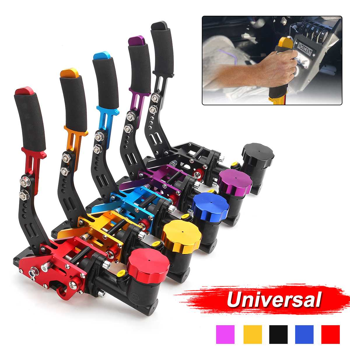 Lever Handbrake-Gear Drift Racing-Car-Hydraulic-E-Brake Blue/gold with Oil-Tank Universal title=