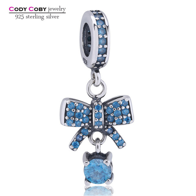 Original 925 Sterling Silver Bow Knot Pendant Charms With Sky Blue Beads  Fit DIY Bracelet for Women Thailand Fashion Jewelry 55c2ced519e7