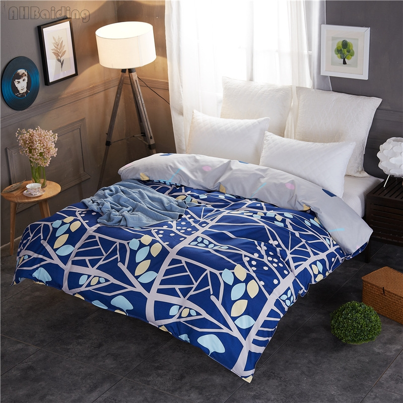 Blue Tree Printing Pastoral Duvet Cover 1pc Quilt Cover with Zipper Twin Full Queen Size Comforter Case Bedding Set Drop Shiping