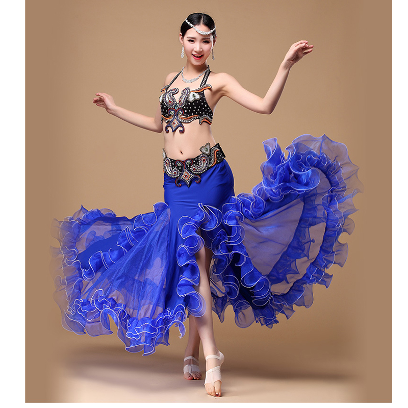 2018 Belly Dance Costume Outfit Set 3pcs Bra Top Belt Hip Scarf Skirt Dress Bollywood Professional Belly Dance Costume