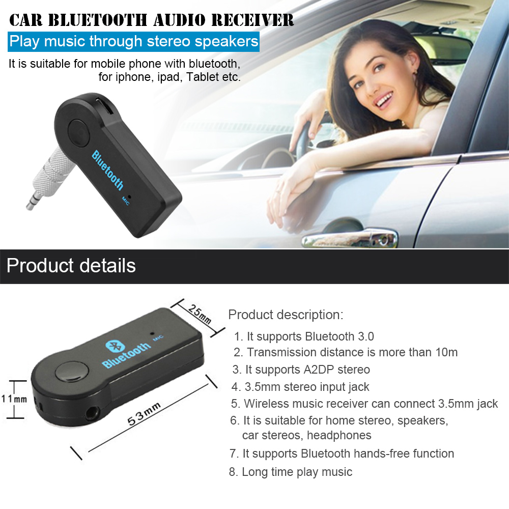 Universal 35mm Car Wireless Bluetooth Audio Music Receiver Adapter Automotive Wiring For Home Speakers 1 2 3